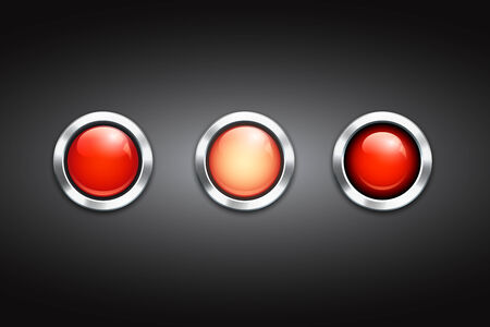 Set of three blank red buttons with shiny metal rims and reflections on a black background Vector