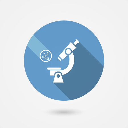 pathology: Round blue biochemistry and microbiology icon