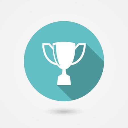 trofeo: Taza del trofeo icono de plano en un marco redondo azul