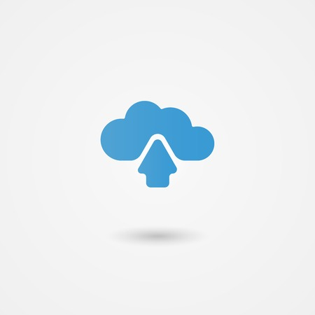 centralised: Cloud computing icon showing an upload arrow for data being transmitted to online or virtual storage with global access across devices  vector illustration Illustration
