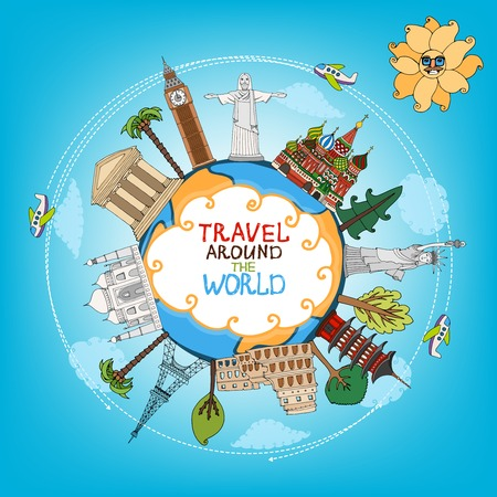 world travel: travel landmarks monuments around world with plane, sun and clouds