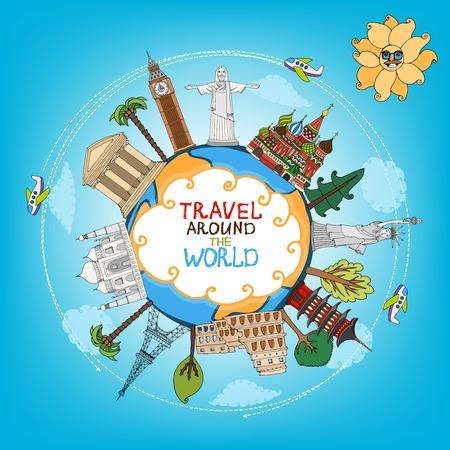 globo terraqueo: Viajes Se�ales monumentos alrededor del mundo con avi�n, sol y nubes Vectores