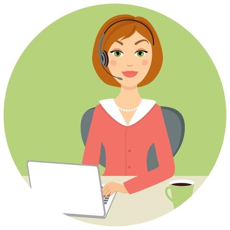 ノート パソコンとヘッドセットと美しいコール センターの女性  イラスト・ベクター素材