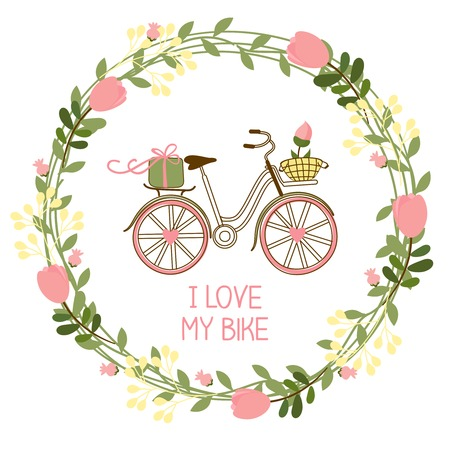 floral wreath and bike for invitations and greeting cards  Vector