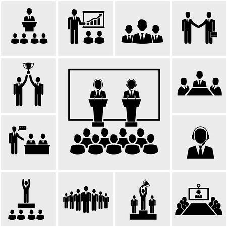 Vector silhouet zakelijke conferentie en presentatie iconen, mensen ontmoeten Stock Illustratie