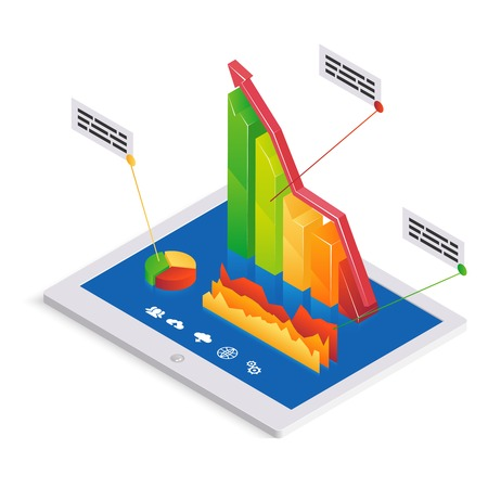PC analytics or infographics template with a 3d bar graph with an upward trend on the touchscreen of a tablet-pc together with a pie graph and fluctuating chart with text boxes  vector illustration Vector