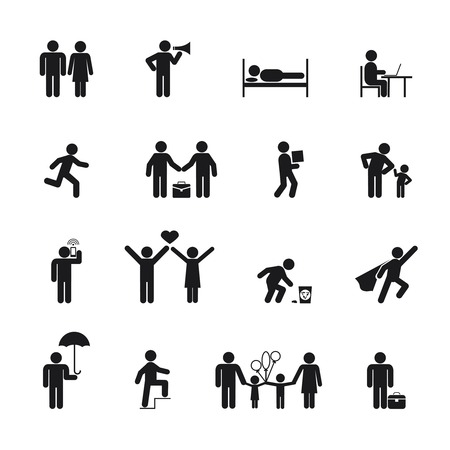 Vector People Icons black silhouette on white background Vector