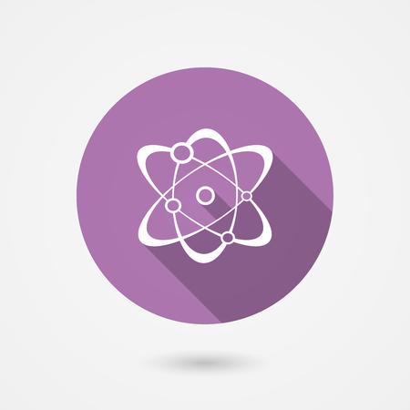 Molecule icon in round purple surround showing atoms orbiting around nucleus, vector illustration