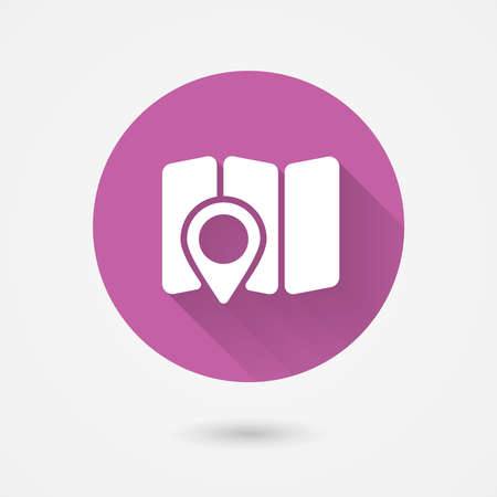 locating: map and navigation icon in flat style for web and mobile apps