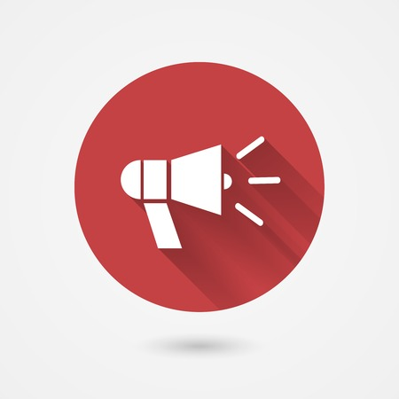amplify: Megaphone icon for public speaking protest, promotion or issuing instructions, vector illustration