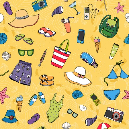 thongs: Beach seamless vector pattern with scattered summer icons such as sunhats swimwear  thongs  sunglasses  camera  ice cream  shells  starfish and cocktails on golden sand conceptual of a summer vacation