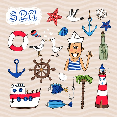 Hand drawn Nautical Elements and cute sailor   Vector