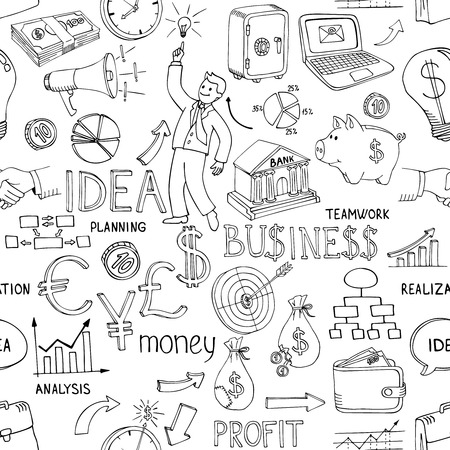 random pattern: Black and white business doodles seamless pattern with a variety of icons depicting money  analysis  charts  ideas and strategy scattered in a random vector design