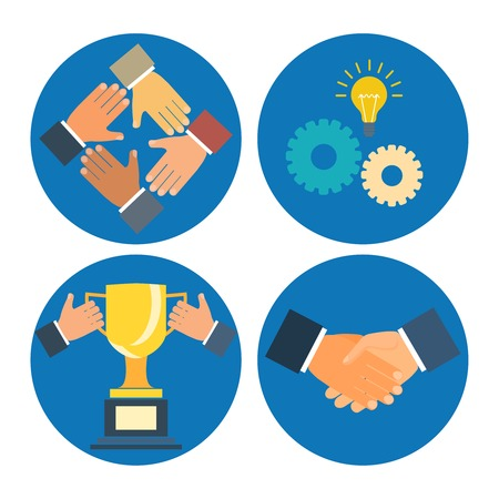 partnership concepts business illustration: assistance, cooperation, collaboration and success Vector