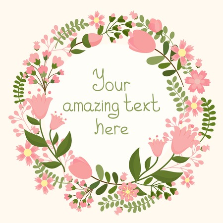 with space for text: Vector floral frame with space for text