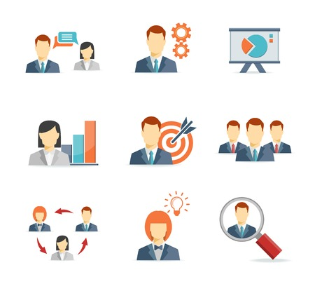 developing: Business people for Web and Mobile App Flat icons  on white background Illustration