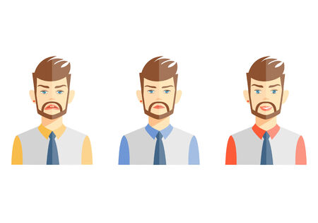 nonverbal: Vector illustrations of young bearded man expressing different emotions on white