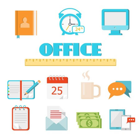 adress book: Vector colored flat office icon set for Web and Mobile Application (app) Illustration