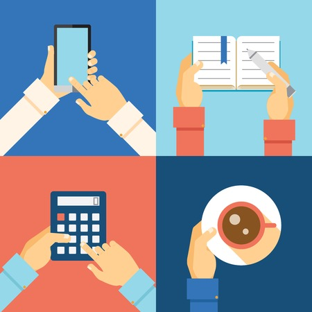 four hands: office hands: smartphone, calculator, cup of coffee and taking notes