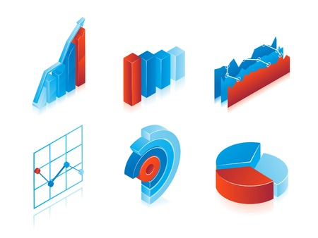 profit and loss: Set of 3d vector charts in blue and red: analytical pie charts, graphs and bar graphs for use as design elements in inforgraphics