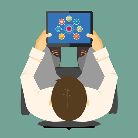 handheld device: SEO infographics on a tablet computer with a linked chart around a hub visible on the screen of a handheld device in the hands of a man viewed from overhead  vector illustration Illustration