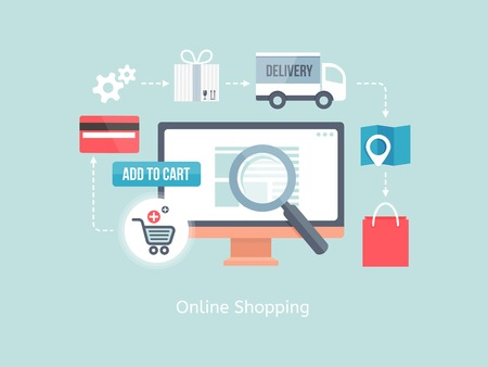 vector buying online and e-commerce poster concept with icons Stok Fotoğraf - 27490593