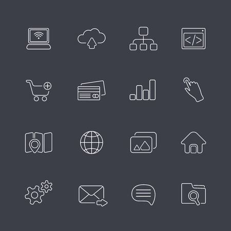 cursor hand: vector thin outline trendy icons in modern style Illustration