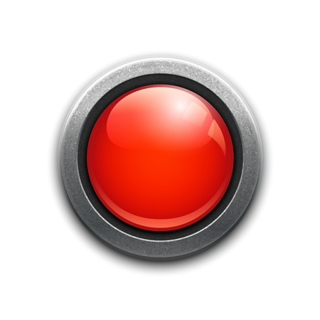 Large red button in a metal rim with reflections and drop shadow for a dimensional effect for use as an internet icon  power button  emergency or alert on a white background  square format vector Illustration
