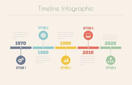 レトロなタイムラインのインフォ グラフィック、設計のためのベクトル テンプレート 写真素材 - 27490649