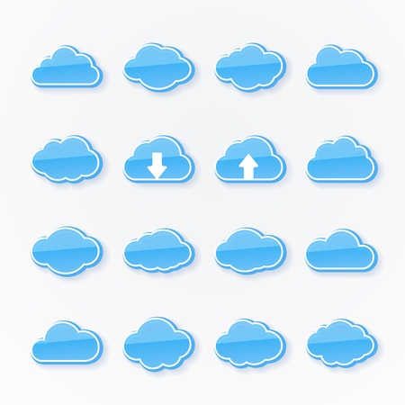 Set of sixteen blue cloud icons of different shapes depicting the weather with two having arrows showing upward and downward transmission of data in cloud computing on a grey background  vector Vector