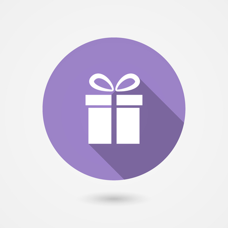 Vector illustration of a round gift icon showing a square gift box with a bow depicting a special occasion such as a birthday  anniversary  wedding  Valentines or Christmas or the concept of shopping