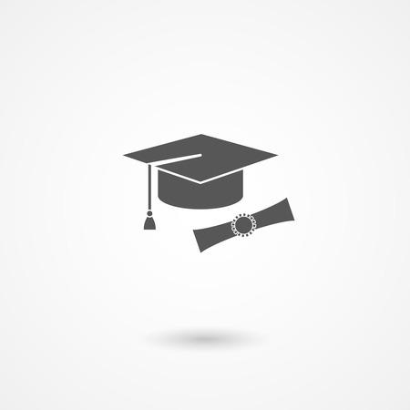 Icono del vector del birrete de graduación o casquillo y el diploma conceptual de la educación, el conocimiento, la experiencia y la finalización de los estudios con licenciatura o doctorado