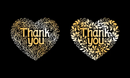 Thank You Golden Vector Decorative Label isolated on black background Vector