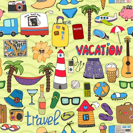 Seamless vector background tropical vacation and travel pattern with colorful icons depicting swimsuits lighthouse  hammock  palms  sunglasses  caravan  map  beer  wine  piggy bank  clothing Vector