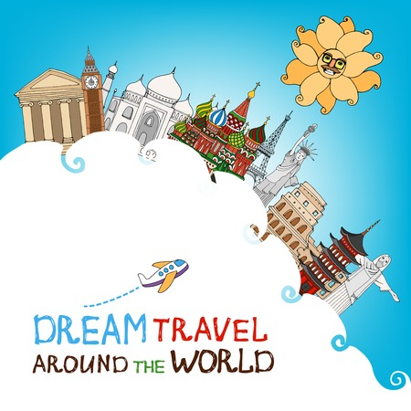 topped: Vector illustration conceptual of dream travel and a global vacation with a cloud topped with famous landmarks against a sunny blue sky with a cartoon airplane and text Illustration