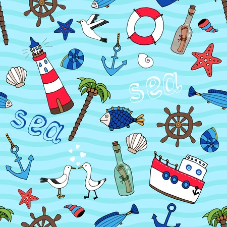 message in a bottle: Nautical themed vector seamless pattern in retro style with a lighthouse  anchor  fish  ships wheel  palm tree  starfish  boat  seagulls  life ring  message in a bottle and shells on a turquoise sea Illustration