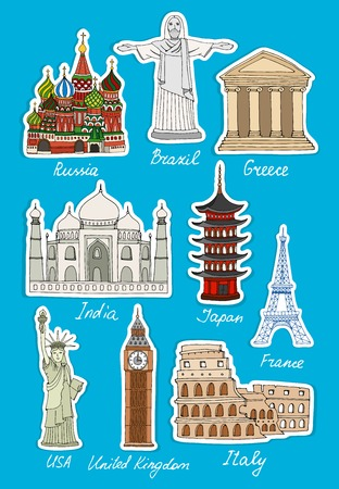 Set of vector travel landmarks icons of St Basils Cathedral  Moscow  Colsseum  Rome  Eiffel Tower  Paris  Japan  Taj Mahal  India  Statue of Liberty  US  Big Ben  London  Christ  Rio  Greece with text Vector
