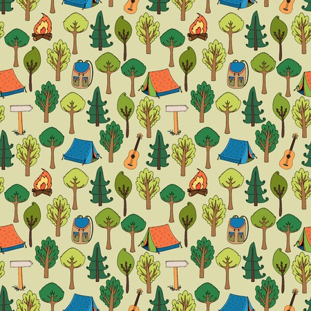 Camping and hiking background seamless pattern of tents in a forest of trees with camp fires  rucksacks  backpacks  guitars and trail markers  vector illustration in square format Vector