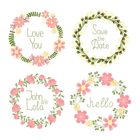 Vector Floral frame wreaths set for wedding invitations and birthday cards