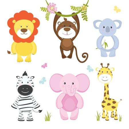 appendere: Set di cute vettore cartone animato animali selvatici con una scimmia appesa da un ramo di leone, elefante rosa koala zebra e la giraffa adatto per bambini illustrazioni isolato su bianco Vettoriali