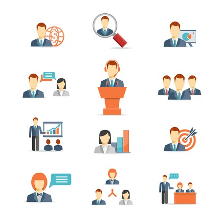 Set of colorful business people vector icons showing training  target  presentation  global  online  meetings  discussion  teamwork  analysis and graphs isolated on white
