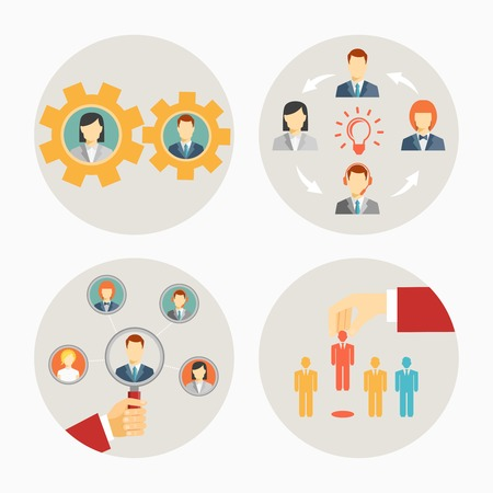employee: Set of vector business people and staff icons in circles depicting a set of gears for teamwork  a brainstorming group  leadership of a group or team  and recruitment or dismissal