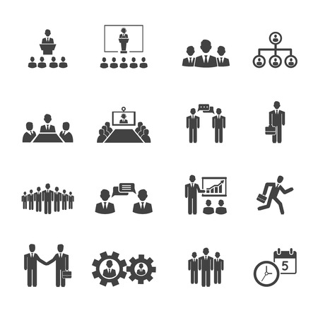 Business people meetings and conferences vector icons showing  training  presentations  conference table  leadership  teamwork  groups  discussion  brainstorming  handshake  deadline and schedule Vector