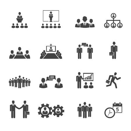 boss: Iconos Hombres de negocios de las reuniones y conferencias del vector que muestra presentaciones de capacitación conferencia de liderazgo mesa plazo handshake grupos de trabajo en equipo de discusión de ideas y el horario Vectores