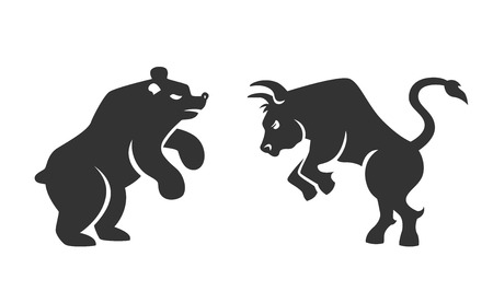 toros: Vector negro silueta del toro y el oso iconos financieros que representan las tendencias del mercado de valores y acciones en la bolsa de ilustraci�n vectorial aislados en blanco Vectores