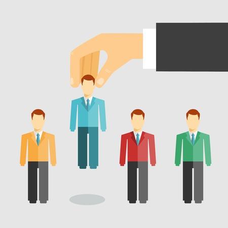 Ilustración vectorial conceptual de la gestión de los recursos humanos con un hombre de negocios la selección de un candidato de los solicitantes de empleo para la contratación de la promoción o el despido