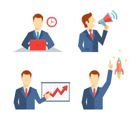 Set van zakenman iconen beeltenis van een man werken aan zijn bureau om een deadline te spreken in het openbaar op een megafoon die een presentatie en zijn carrière opstijgen als een raket of een inspirerend idee