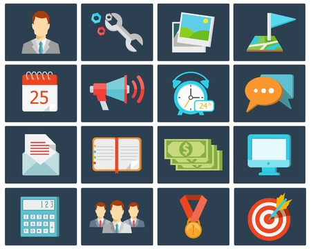 speaking tube: vector trendy colored office flat icons in flat style
