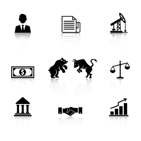 bear market: Vector business icon set in black silhouette with a businessman  bear and bull stock market icon  dollar bill  mining and oil  bank  handshake  bar graph and documents