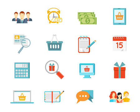 Set of vector shopping icons depicting commerce with baskets  gifts  list  computer screen  calendar  money  dollar  bills  clock  customers  salespeople  calculator and laptop Vector